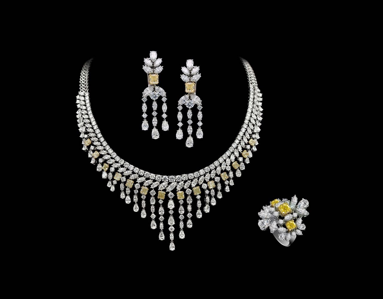 White and yellow diamond earring, necklace and ring set