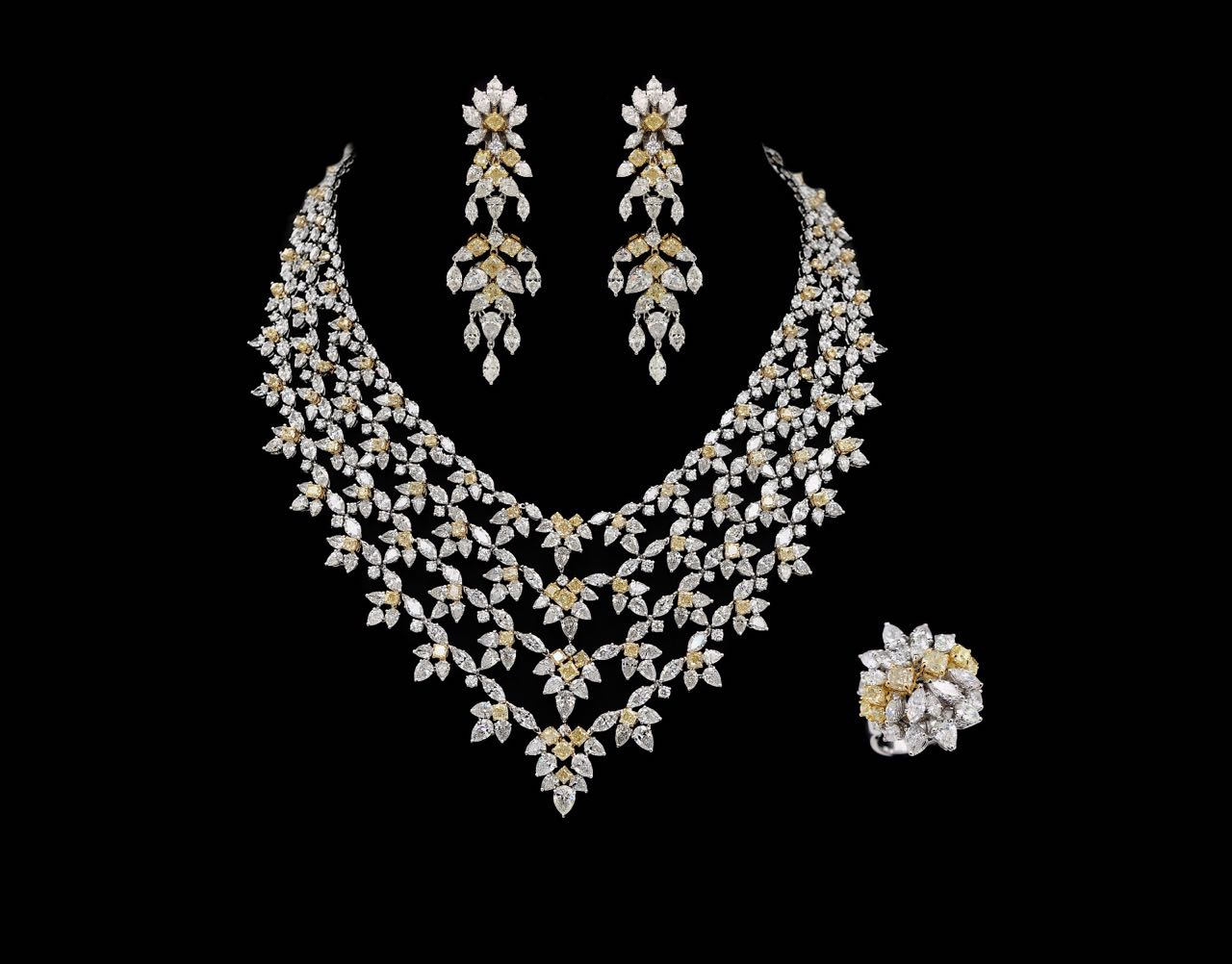White and Yellow diamond necklace, earring and ring set