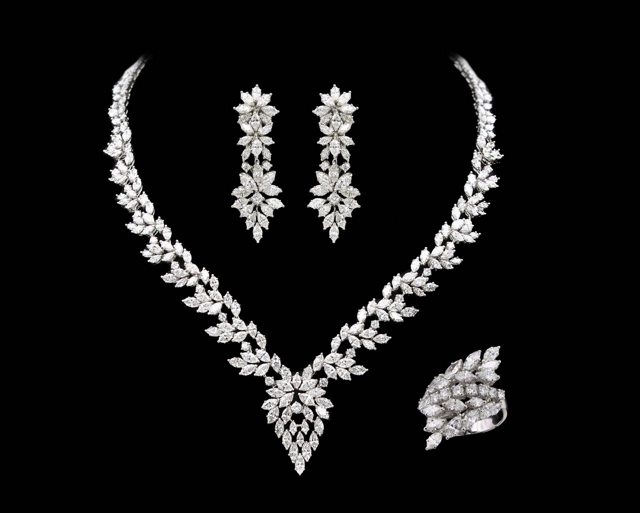 Diamond earring, necklace and ring set
