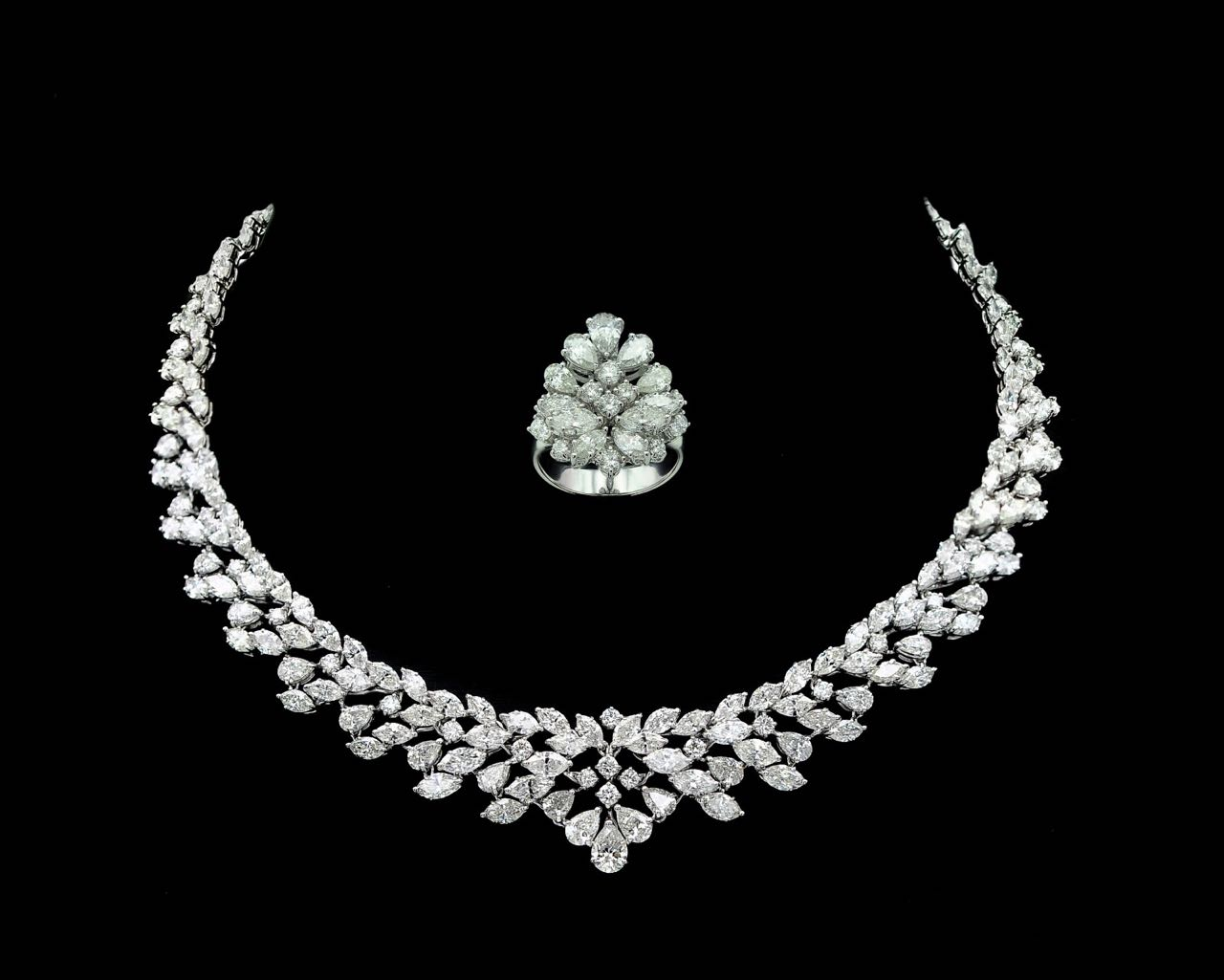 Diamond necklac and ring set