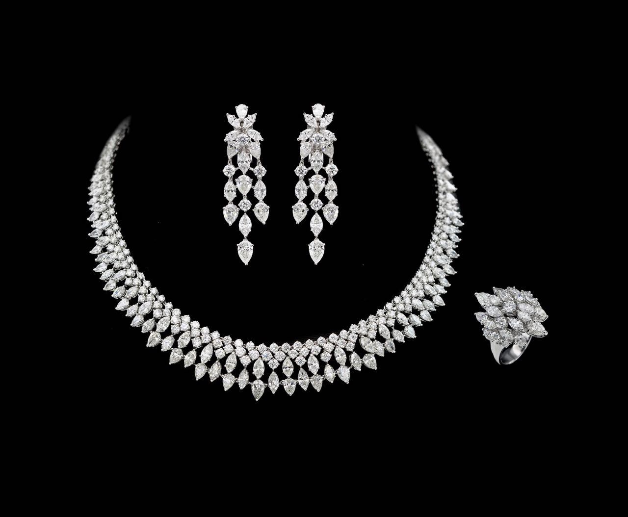 Diamond necklace, earrings and ring set