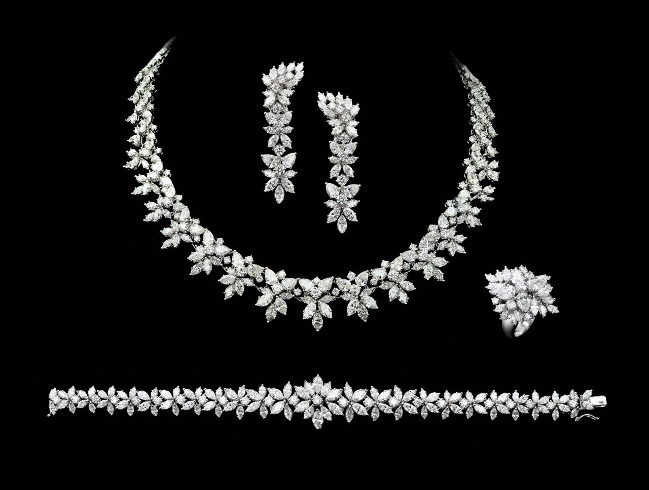 Diamond necklace, earrings, bracelet and ring set