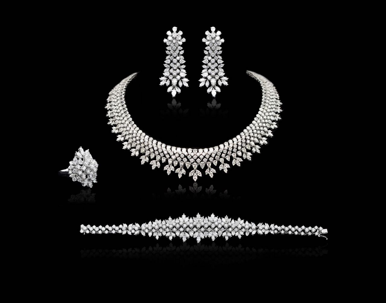 Diamond necklace, earrings, bracelet and ring set